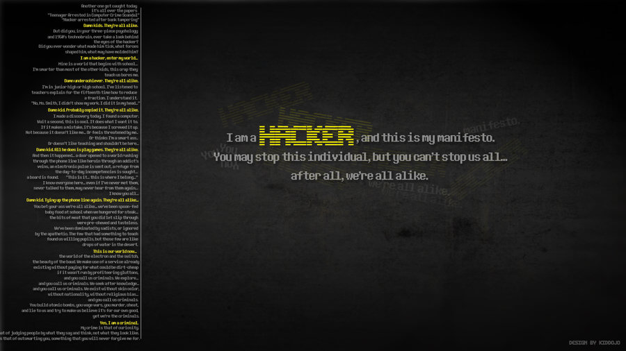 Hacker Manifesto Wallpaper by Kiddojo